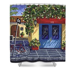 Corner Store Shower Curtain by Val Miller