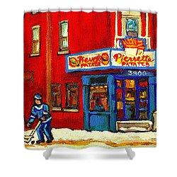 Cornerstore Hockey Game In Verdun Pierrette Patates Restaurant Montreal Verdun Winter Hockey Scenes Shower Curtain by Carole Spandau