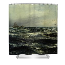 Cornish Sea And Working Boat Shower Curtain by Charles William Hemy