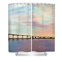 Coronado Bridge Sunset Diptych Shower Curtain