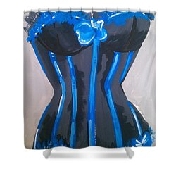 Shower Curtain featuring the painting Corset Blue Lace by Marisela Mungia