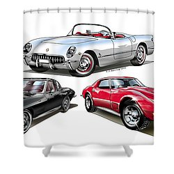 Shower Curtain featuring the digital art Corvette Generation by Thomas J Herring