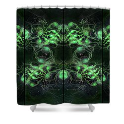 Cosmic Alien Eyes Green Shower Curtain