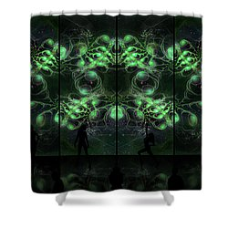 Cosmic Alien Vixens Green Shower Curtain by Shawn Dall