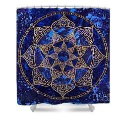 Cosmic Blue Lotus Shower Curtain by Charlotte Backman
