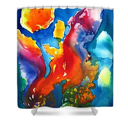 Cosmic Fire Abstract  Shower Curtain by Carlin Blahnik