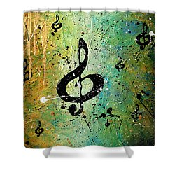 Cosmic Jam Shower Curtain by Carmen Guedez