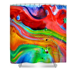 Shower Curtain featuring the painting Cosmic Lights by Joyce Dickens