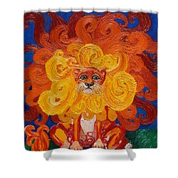 Cosmic Lion Shower Curtain by Cassandra Buckley