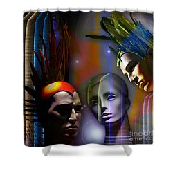 Shower Curtain featuring the digital art Cosmic Mannequins Triad by Rosa Cobos