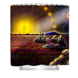 Cosmic Signpost Shower Curtain by Melinda Fawver
