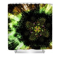 Cosmic Solar Flower Fern Flare Shower Curtain by Shawn Dall