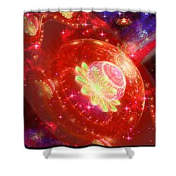 Cosmic Space Station Shower Curtain by Shawn Dall
