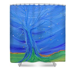 Shower Curtain featuring the painting Cosmic Tree by First Star Art