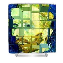 Cosmic Van Gogh Portrait Shower Curtain by Jerome Stumphauzer