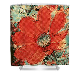Cosmos Flower Colorized Halftone Shower Curtain