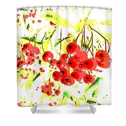 Cotoneaster Shower Curtain by Barbara Moignard