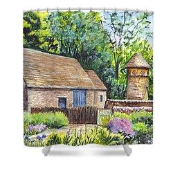Cotswold Barn Shower Curtain by Carol Wisniewski
