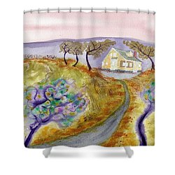 Cottage By The Purple Trees Shower Curtain