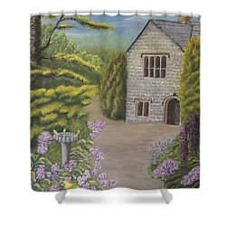 Cottage In The Woods Shower Curtain by Lou Magoncia