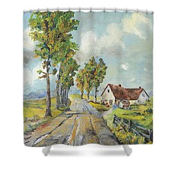 Shower Curtain featuring the painting Cottage On Poplar Lane by Mary Ellen Anderson