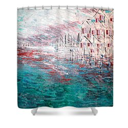 Cottages On The Bay  Shower Curtain by George Riney