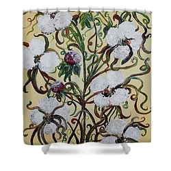 Shower Curtain featuring the painting Cotton #1 - King Cotton by Eloise Schneider