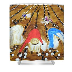 Cotton Picking People Shower Curtain