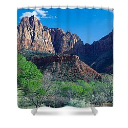 Cottonwood Trees And The Watchman, Zion Shower Curtain