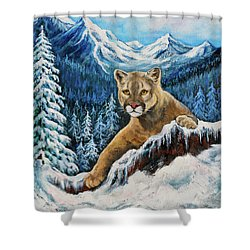 Shower Curtain featuring the painting Cougar Sedona Red Rocks  by Bob and Nadine Johnston