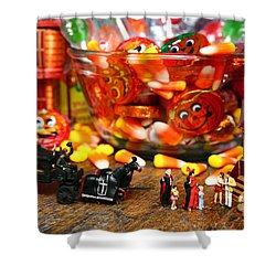 Count And Countess Dracula Inadvertently Took Their Daughters Trick Or Treating At The Van Helsings Shower Curtain by Lon Casler Bixby