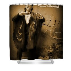 Count Dracula In Sepia Shower Curtain by John Malone