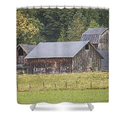 Shower Curtain featuring the painting Country Art - Rustic Old Barns With Cow In The Pasture by Jordan Blackstone