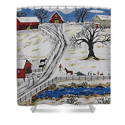 Country Christmas Tree Shower Curtain by Jeffrey Koss