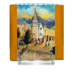Shower Curtain featuring the painting Country Church At Sunset by Kathy Braud