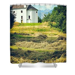 Shower Curtain featuring the photograph Country Church With Hay by Silvia Ganora