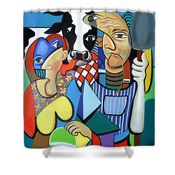 Country Cubism Shower Curtain by Anthony Falbo