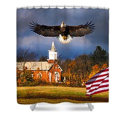 country Eagle Church Flag Patriotic Shower Curtain