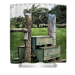 Shower Curtain featuring the photograph Country Farm Fence Stile Crossing by Ella Kaye Dickey