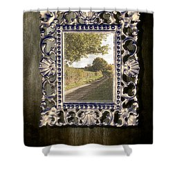 Country Lane Reflected In Mirror Shower Curtain by Amanda Elwell