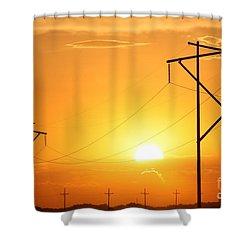 Country Powerline's Shower Curtain by Robert D  Brozek