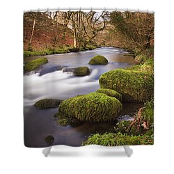 Country River Scene Wales Shower Curtain by Pearl Bucknall