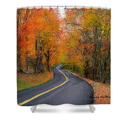 Shower Curtain featuring the painting Country Road In Autumn by Bruce Nutting