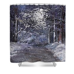 Country Road On A Wintery Night Shower Curtain by Jack Skinner