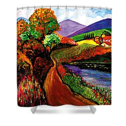 Country Road Take Me Home Shower Curtain by Everett Spruill