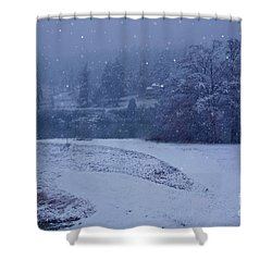 Country Snowstorm Landscape Art Prints Shower Curtain by Valerie Garner