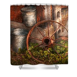 Country - Some Dented Pails And An Old Wheel  Shower Curtain by Mike Savad