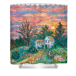 Country Sunset Shower Curtain by Kendall Kessler