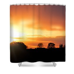 Country Sunset Silhouette Shower Curtain