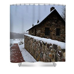 Country Winter Landscape  Shower Curtain